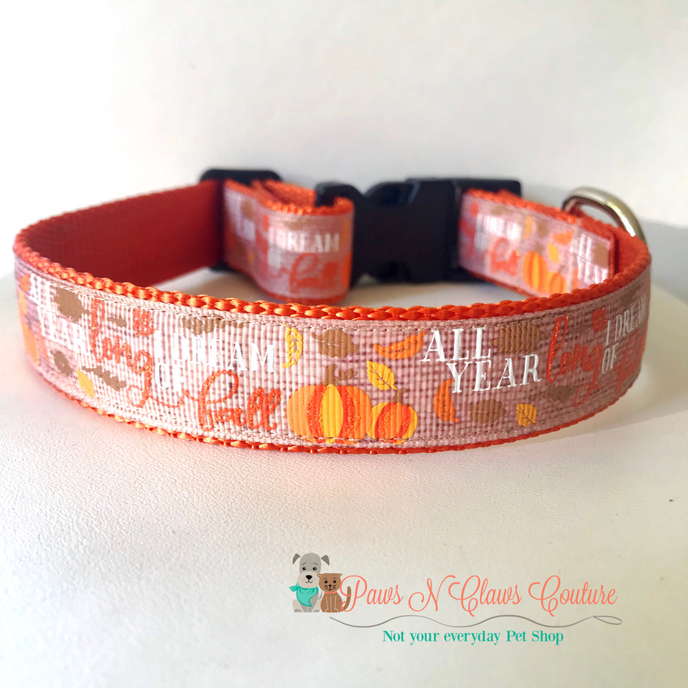 "1"" All year long I dream of Fall Dog Collar"