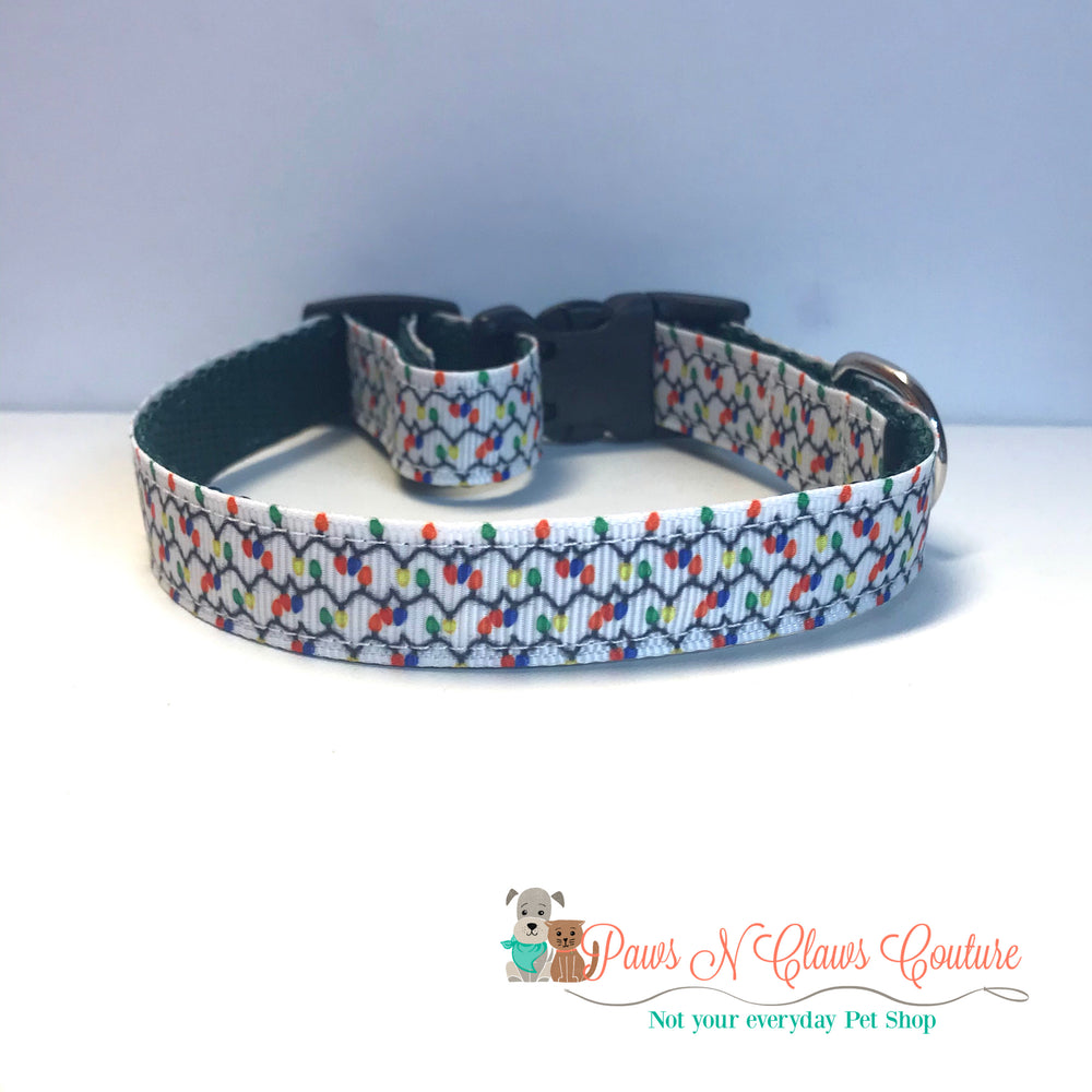 "5/8"" Christmas lights Dog Collar - Paws N Claws Couture"