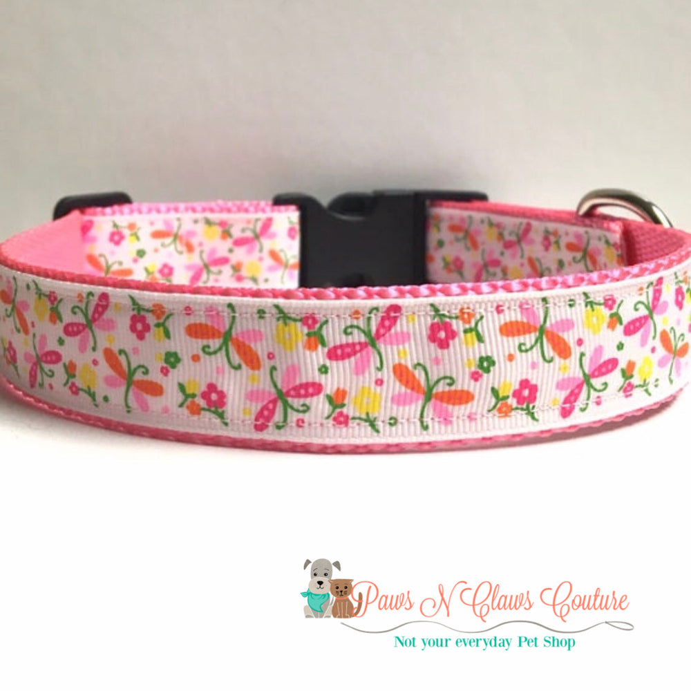 "1"" Dragonflies Dog Collar"