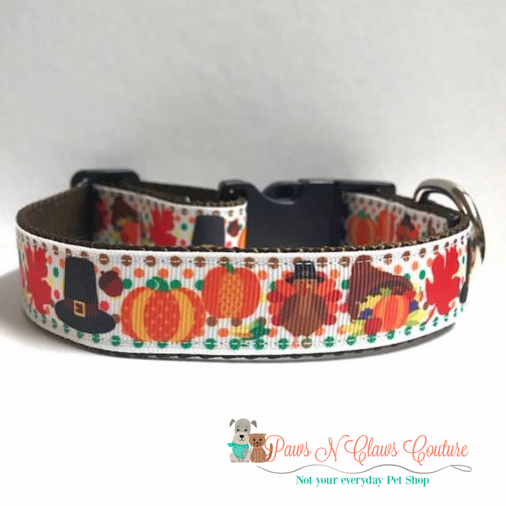 "1"" Happy harvest Dog Collar - Paws N Claws Couture"