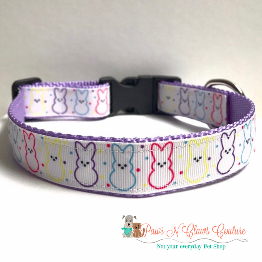 "1"" Easter Bunny Outline Dog Collar - Paws N Claws Couture"