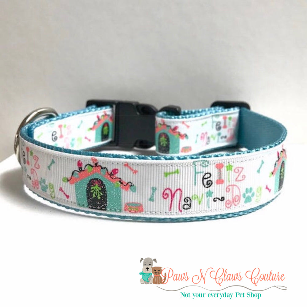 "1"" Feliz navi dog, Dog Collar - Paws N Claws Couture"