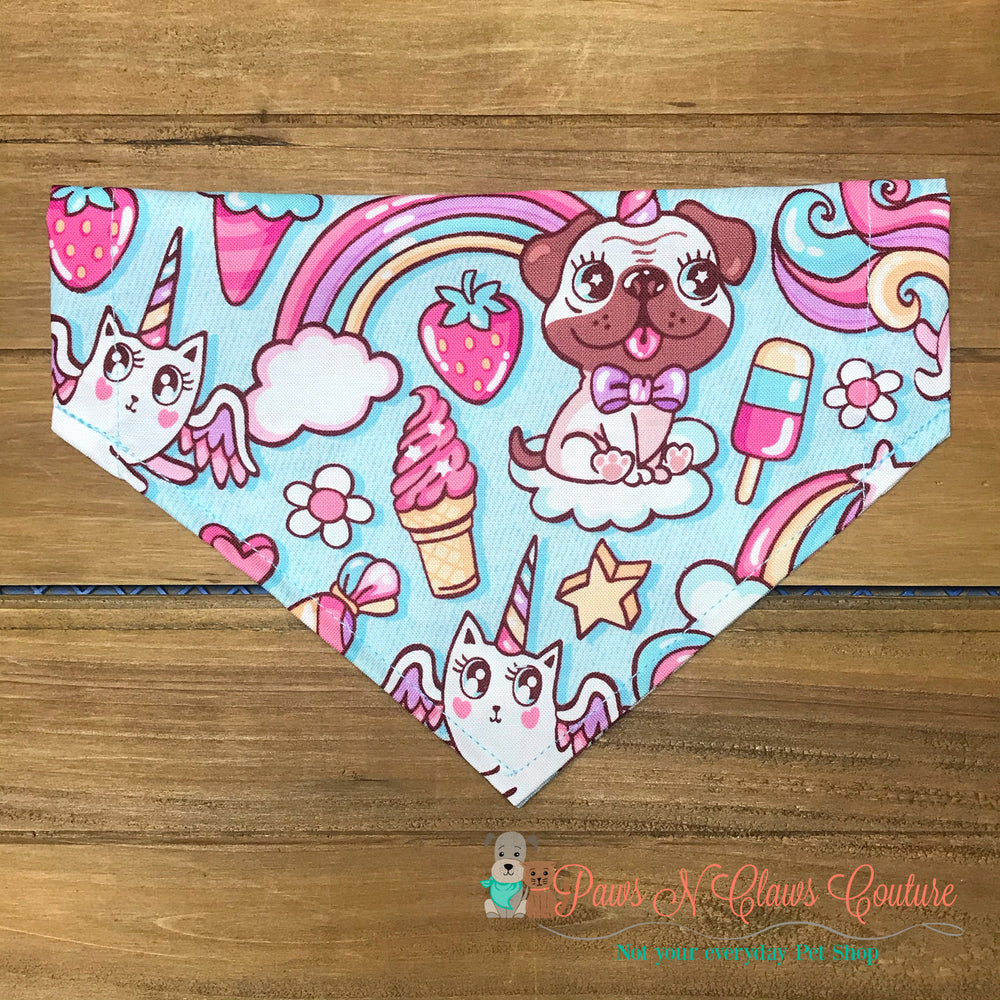 Unicorns and rainbow Bandana - Paws N Claws Couture