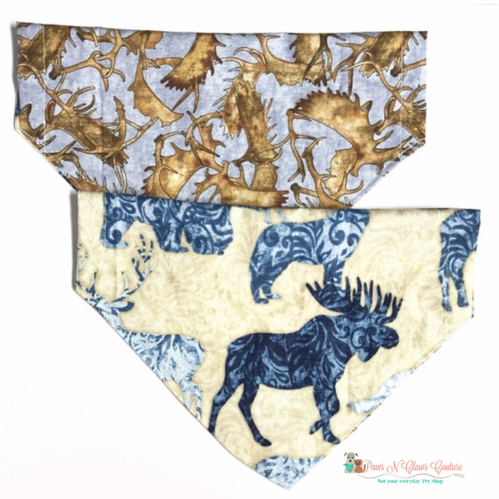 Reversible antlers and forest animals Bandana - Paws N Claws Couture