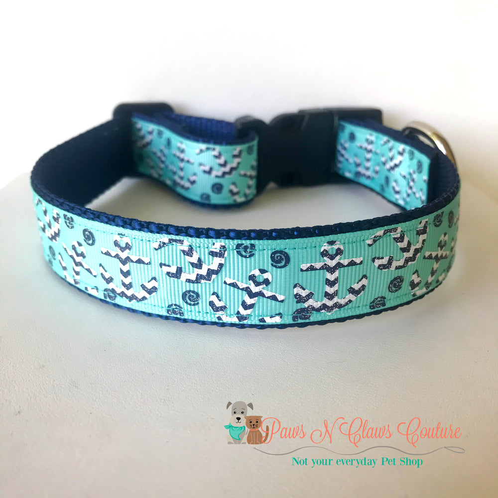"1"" Chevron anchors on teal Dog Collar - Paws N Claws Couture"