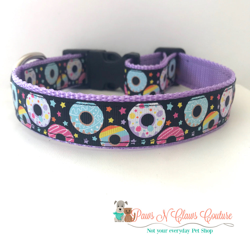 "1"" Donuts & stars Dog Collar - Paws N Claws Couture"