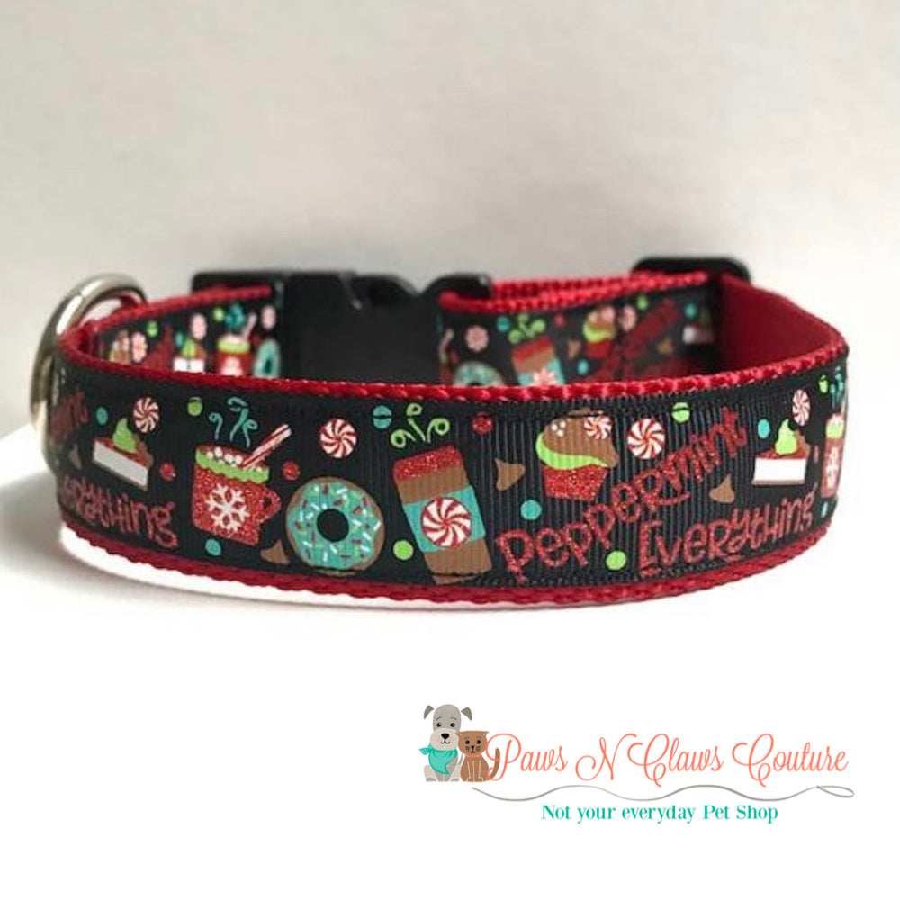 "1"" Peppermint everything Dog Collar - Paws N Claws Couture"