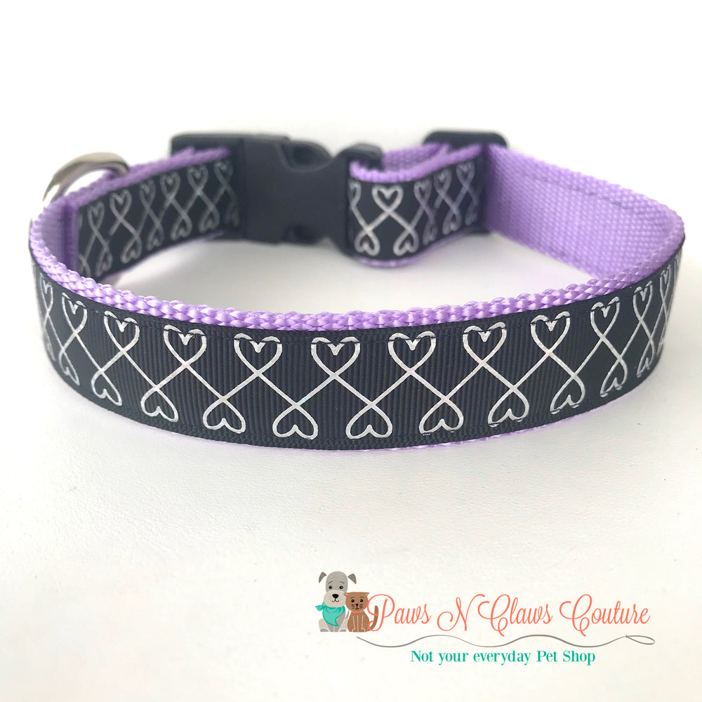 "1"" Infinity hearts on black Dog Collar - Paws N Claws Couture"
