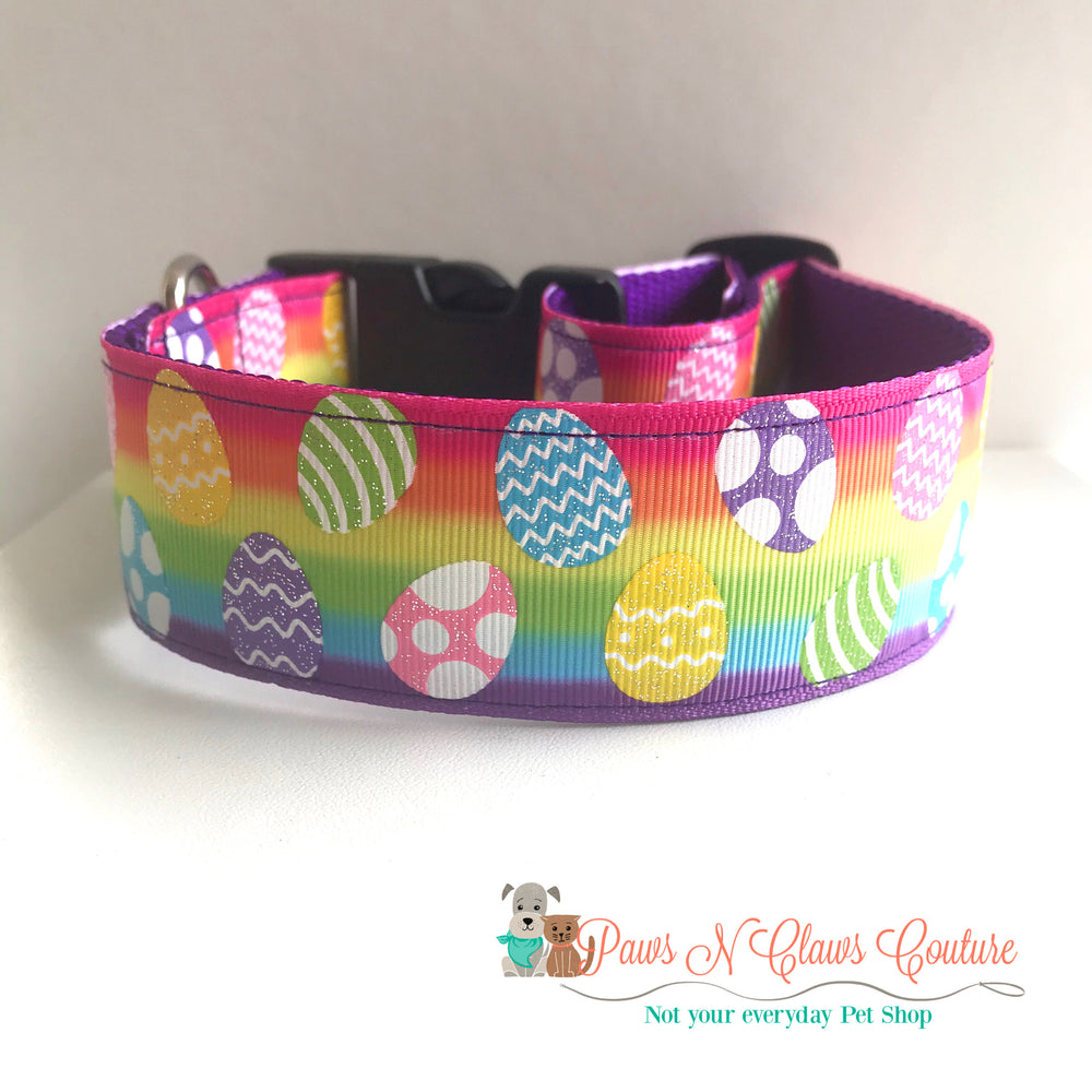 "1.5"" Glitter eggs and rainbow Dog Collar - Paws N Claws Couture"