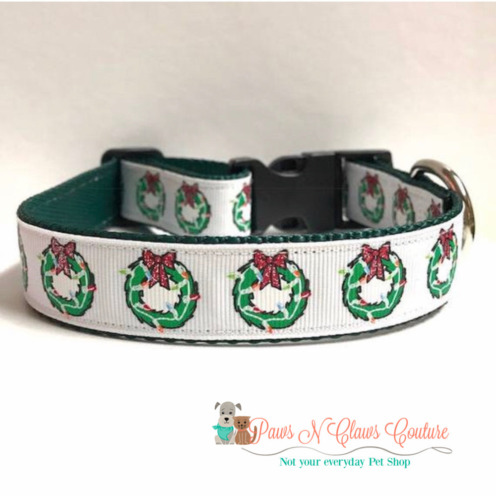 "1"" Christmas wreaths Dog Collar - Paws N Claws Couture"