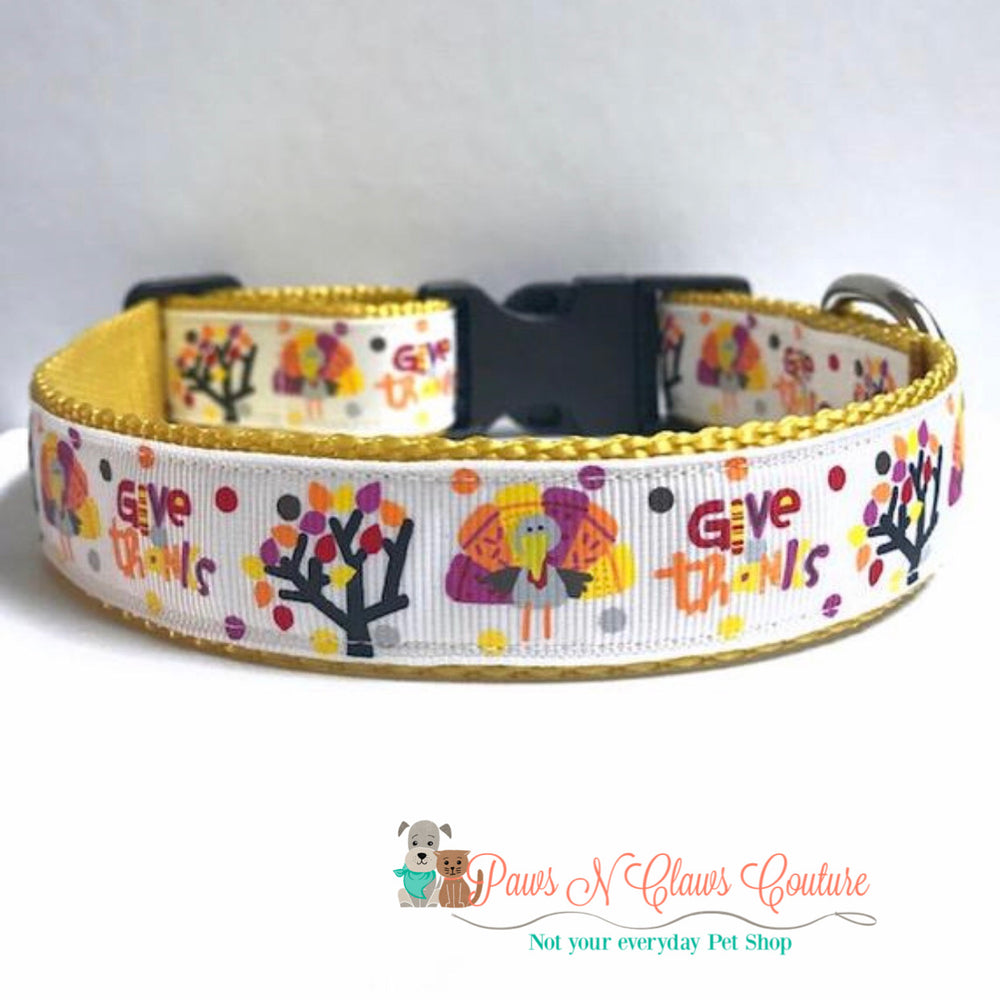 "1""  give thanks Dog Collar - Paws N Claws Couture"