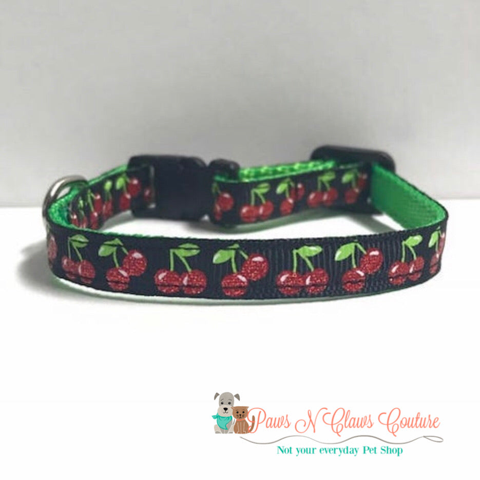 "3/8"" Very Cherry Cat or Small Dog Collar - Paws N Claws Couture"
