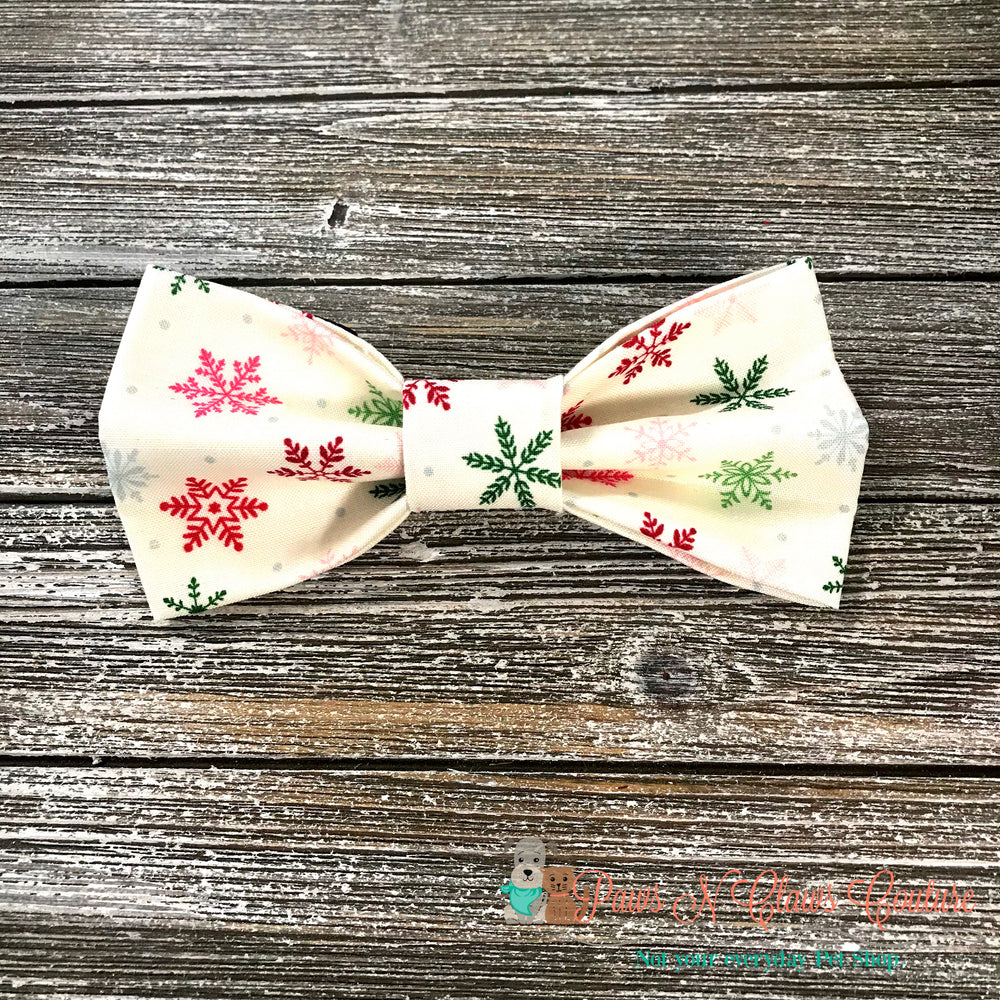 Multi color snowflakes Bow Tie - Paws N Claws Couture