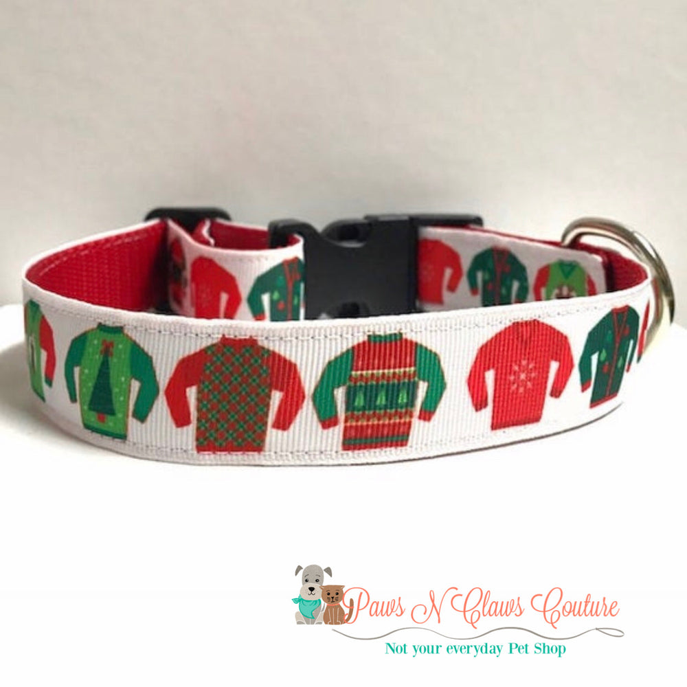 "1"" Ugly sweater Dog Collar - Paws N Claws Couture"