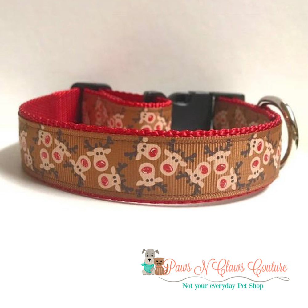 "1"" Dancing rudolph Dog Collar - Paws N Claws Couture"