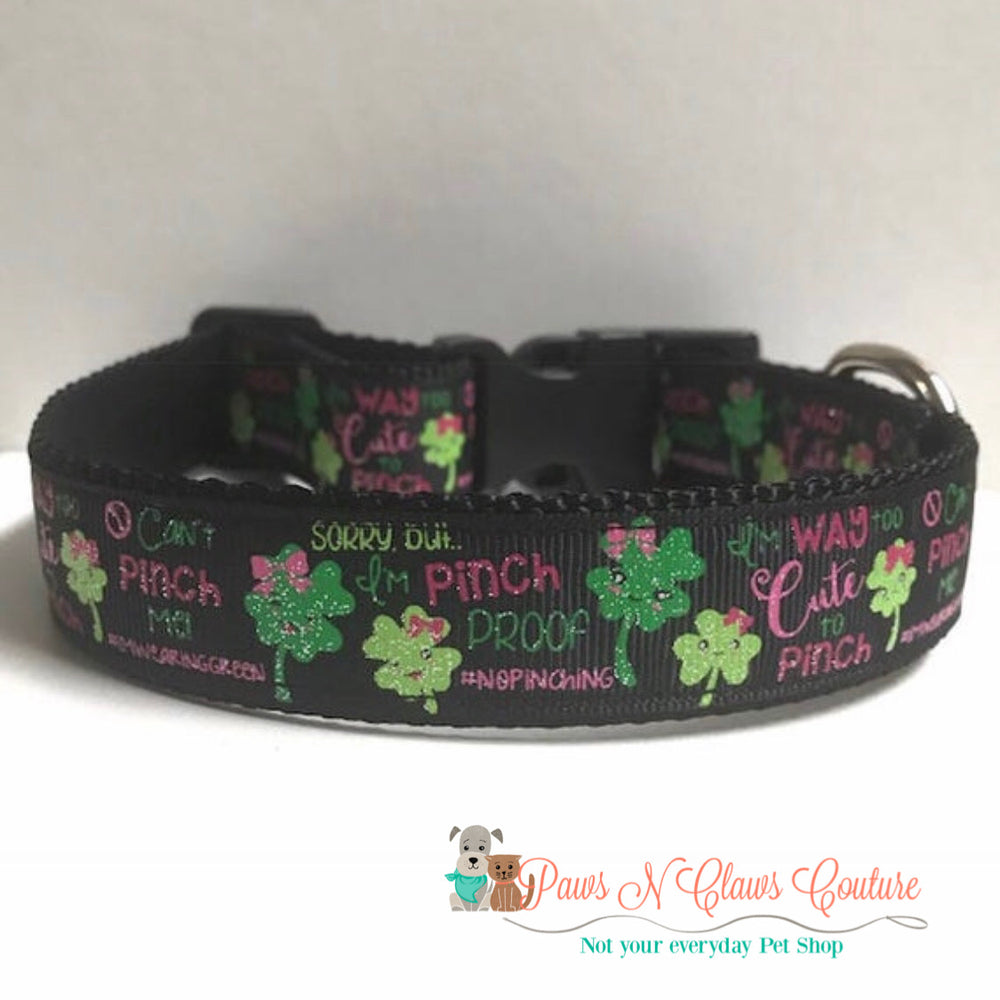 "1"" Way too cute to pinch Dog Collar - Paws N Claws Couture"