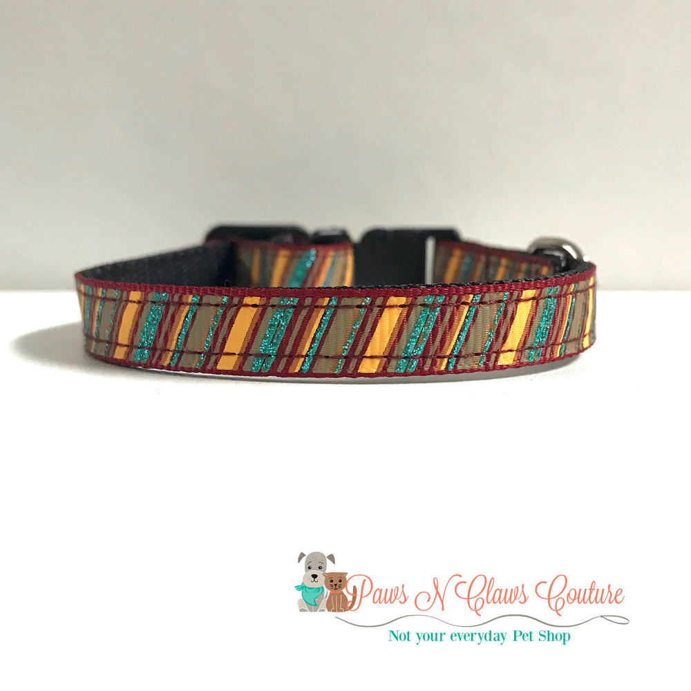 "3/8"" fall stripes Cat or Small Dog Collar"
