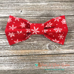 snowflakes on red Bow Tie - Paws N Claws Couture