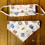 Batman, Superman and Wonder Woman inspired Mask, Matching Bandana (Each Sold Separately, not sold as a set) - Paws N Claws Couture