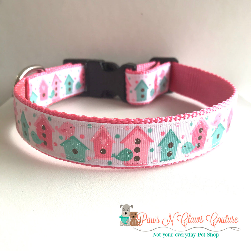 "1"" Birdhouses Dog Collar - Paws N Claws Couture"
