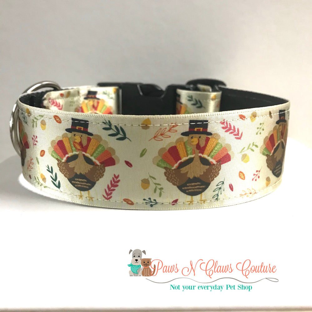 "1.5"" Turkeys, acorns and leaves Dog Collar"
