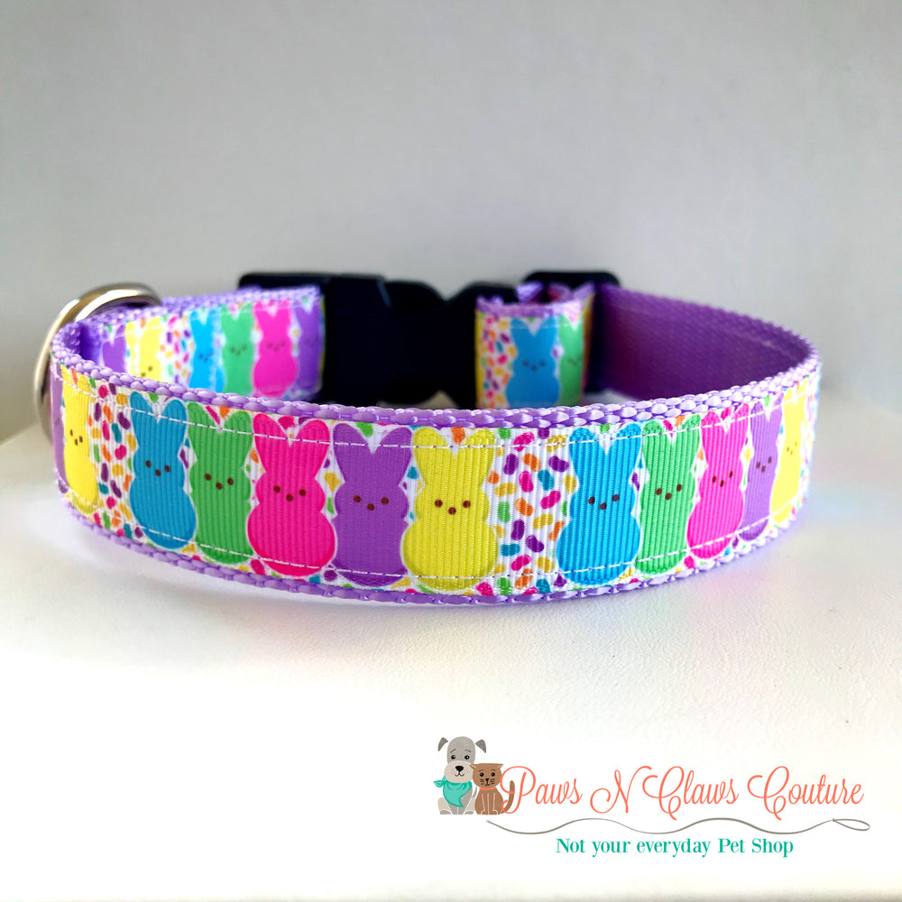 "1"" Peeps Bunnies and jellybeans Dog Collar"