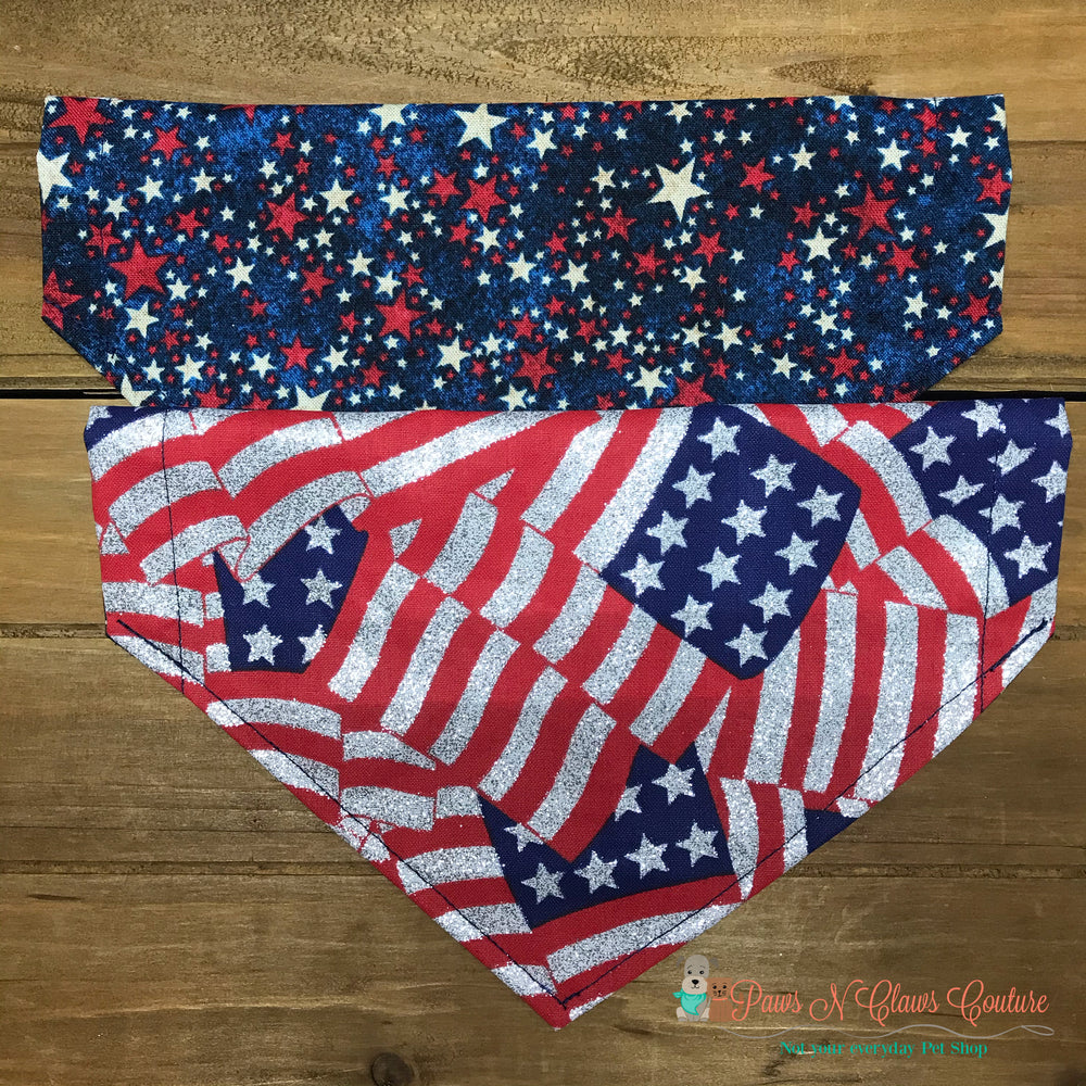Reversible flag and stars Bandana - Paws N Claws Couture