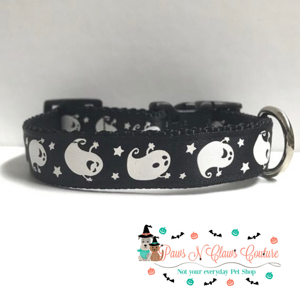 "5/8"" Ghosts and stars Dog Collar - Paws N Claws Couture"