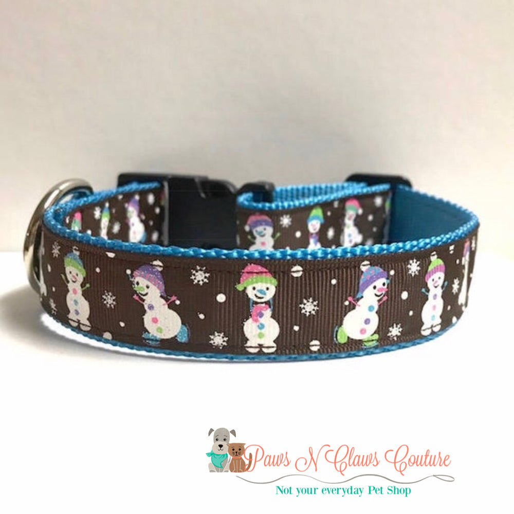 "1"" Snowmen on brown Dog Collar - Paws N Claws Couture"