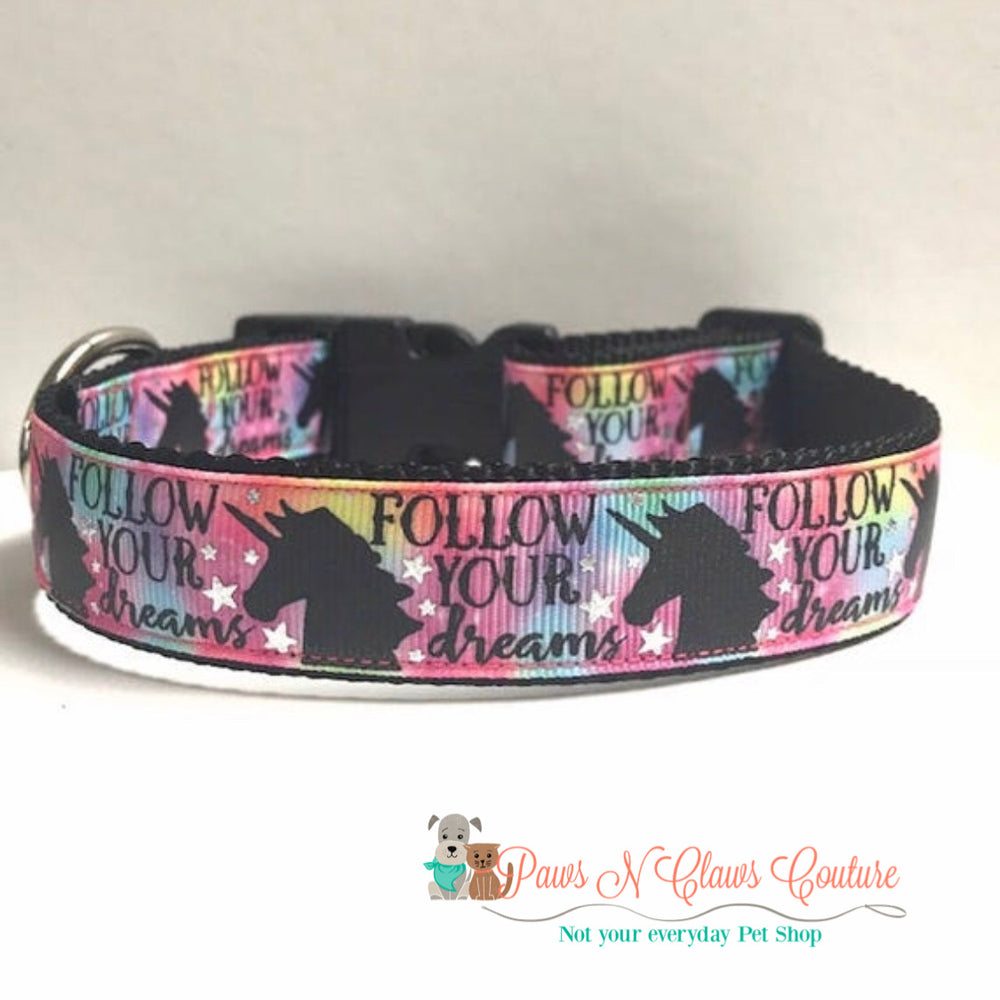 "1"" Follow your dreams Dog Collar - Paws N Claws Couture"