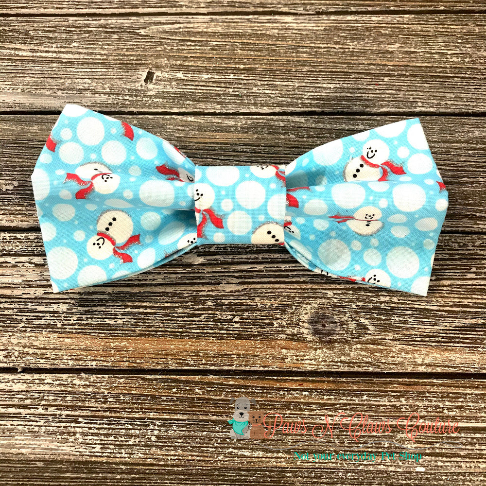 Snowmen and polka dots Bow Tie - Paws N Claws Couture