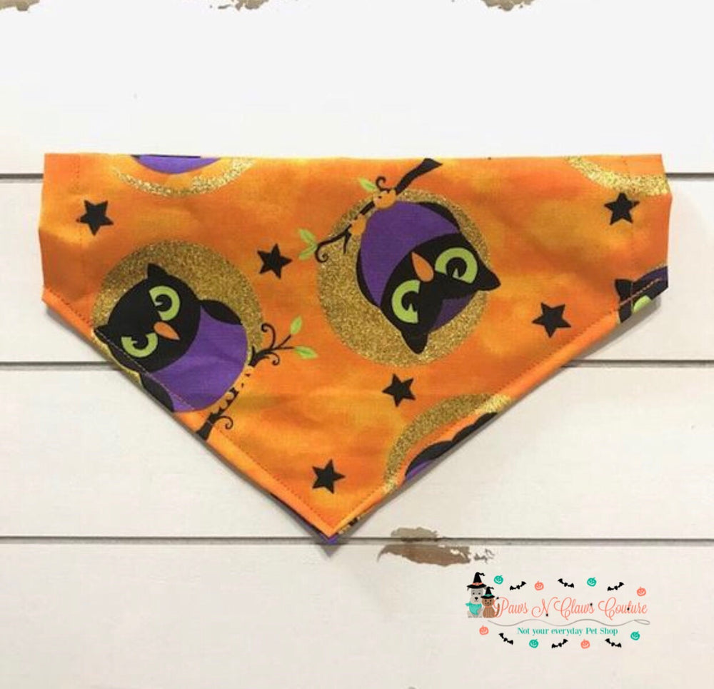 Halloween owls on full moon Bandana - Paws N Claws Couture