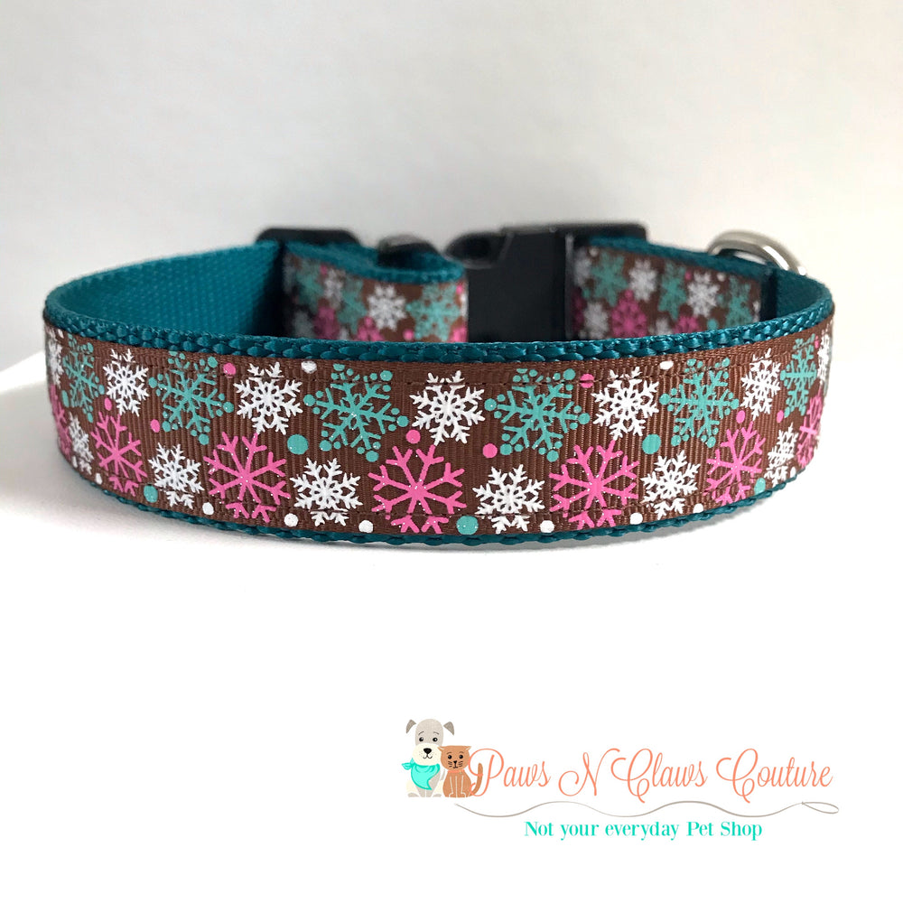 "1"" Teal and pink snowflakes Dog Collar - Paws N Claws Couture"