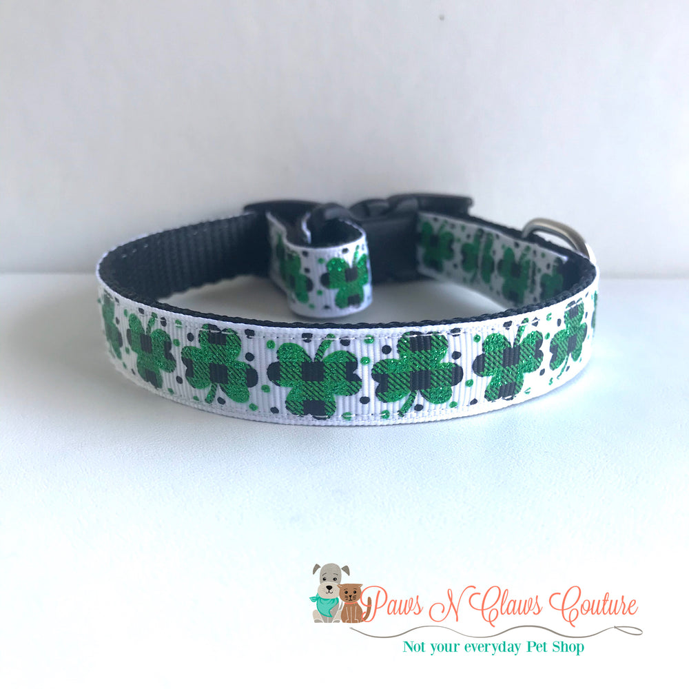 "5/8"" Glitter plaid clovers Dog Collar - Paws N Claws Couture"
