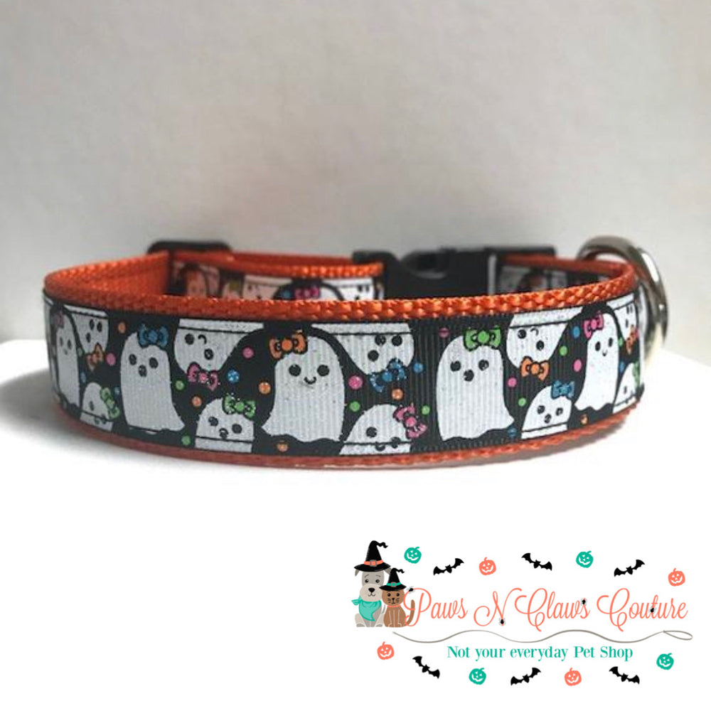 "1"" Ghosts in bows Dog Collar - Paws N Claws Couture"