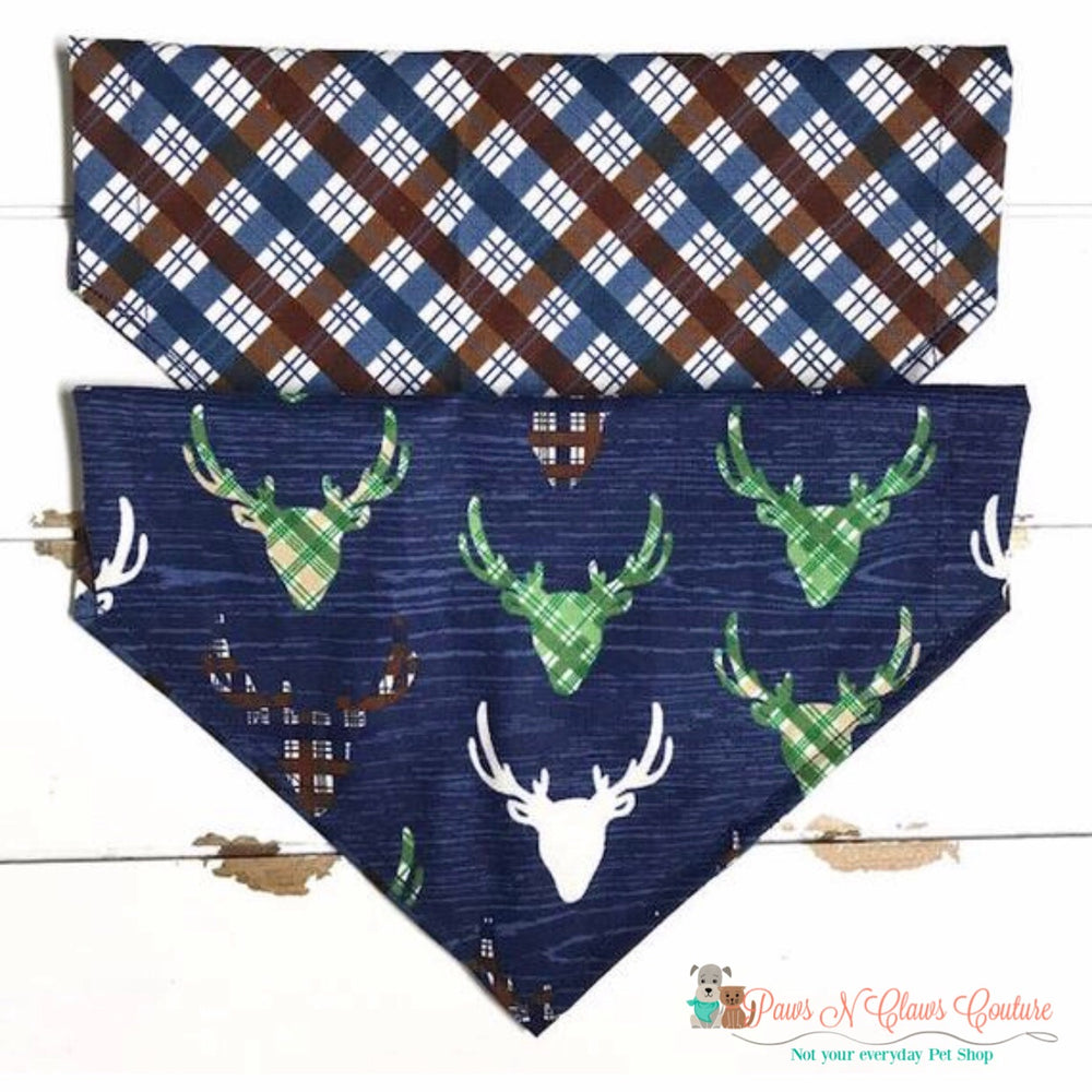 Reversible plaid deer head on navy Bandana