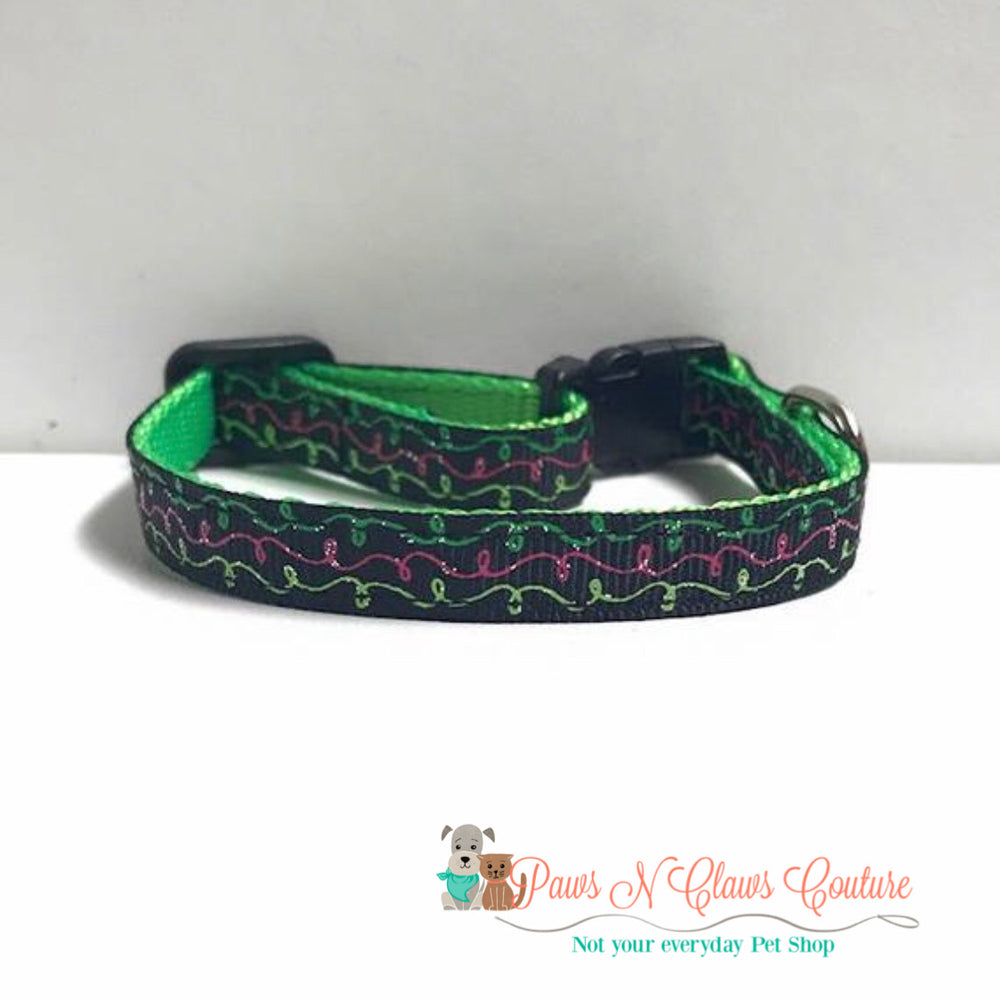 "3/8"" Green and Pink Streamers Cat or Small Dog Collar - Paws N Claws Couture"