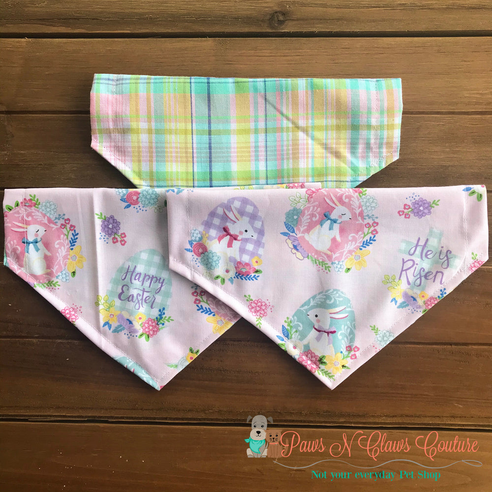 Reversible Happy Easter Eggs Bandana - Paws N Claws Couture
