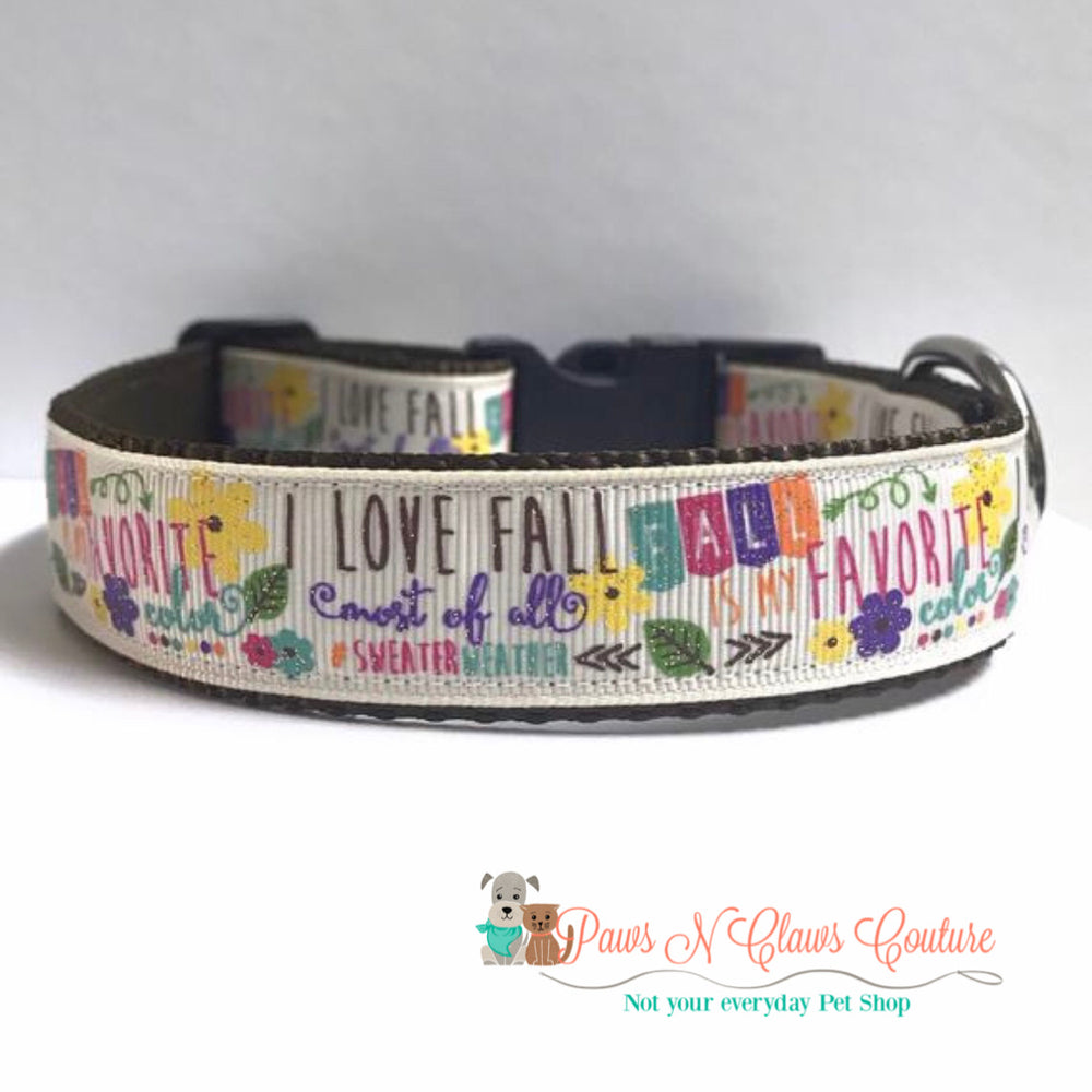 "1"" Fall is my favorite Dog Collar - Paws N Claws Couture"