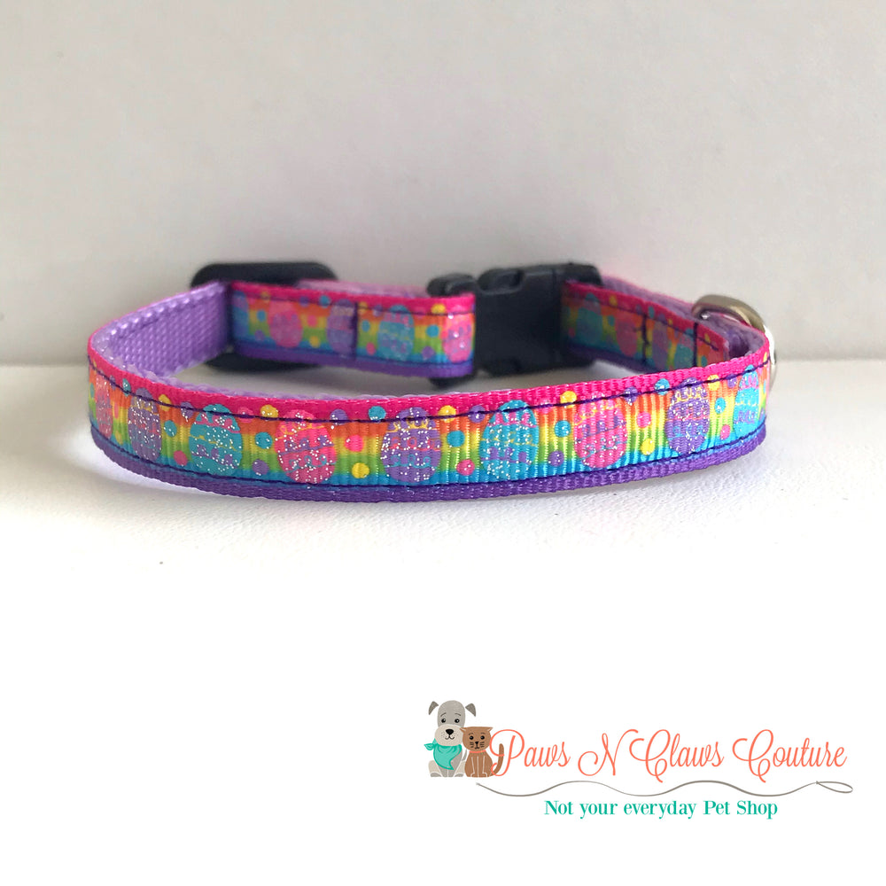 "3/8"" Rainbow eggs Cat or Small Dog Collar"