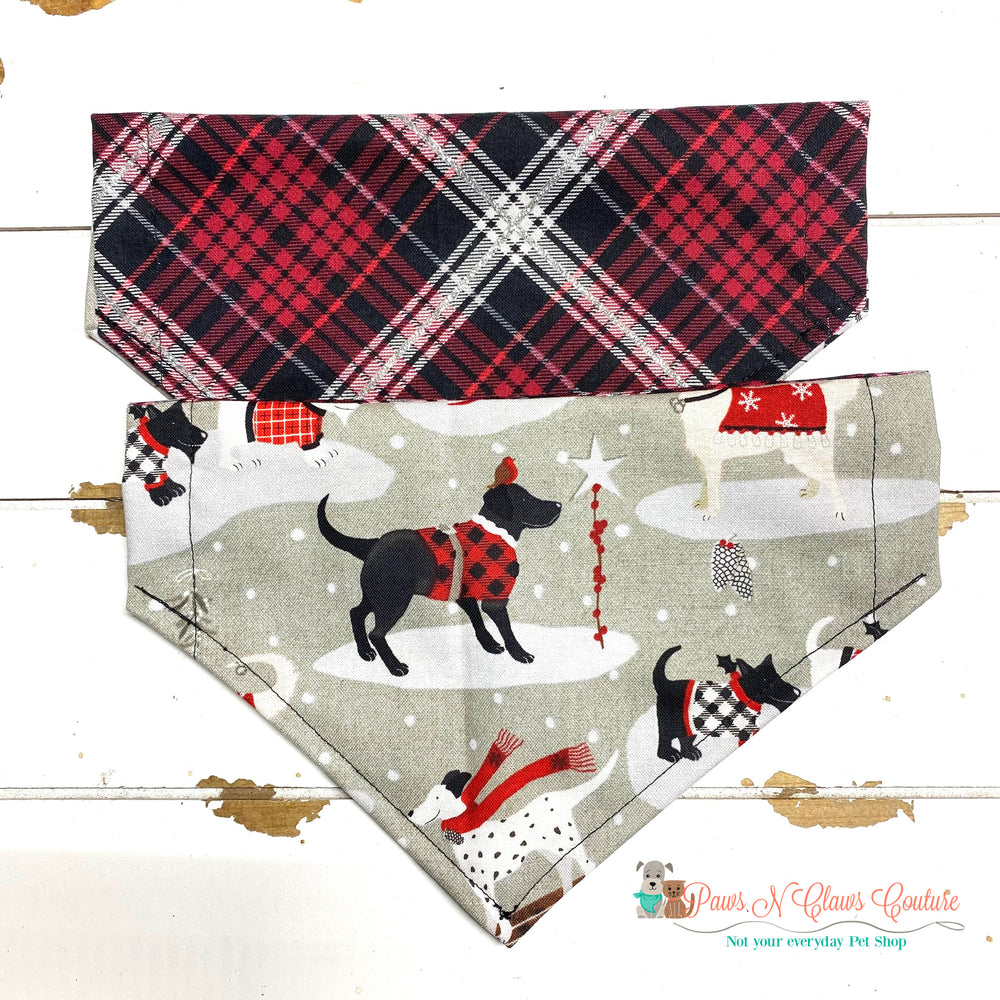 Reversible dog winter and plaid Bandana - Paws N Claws Couture