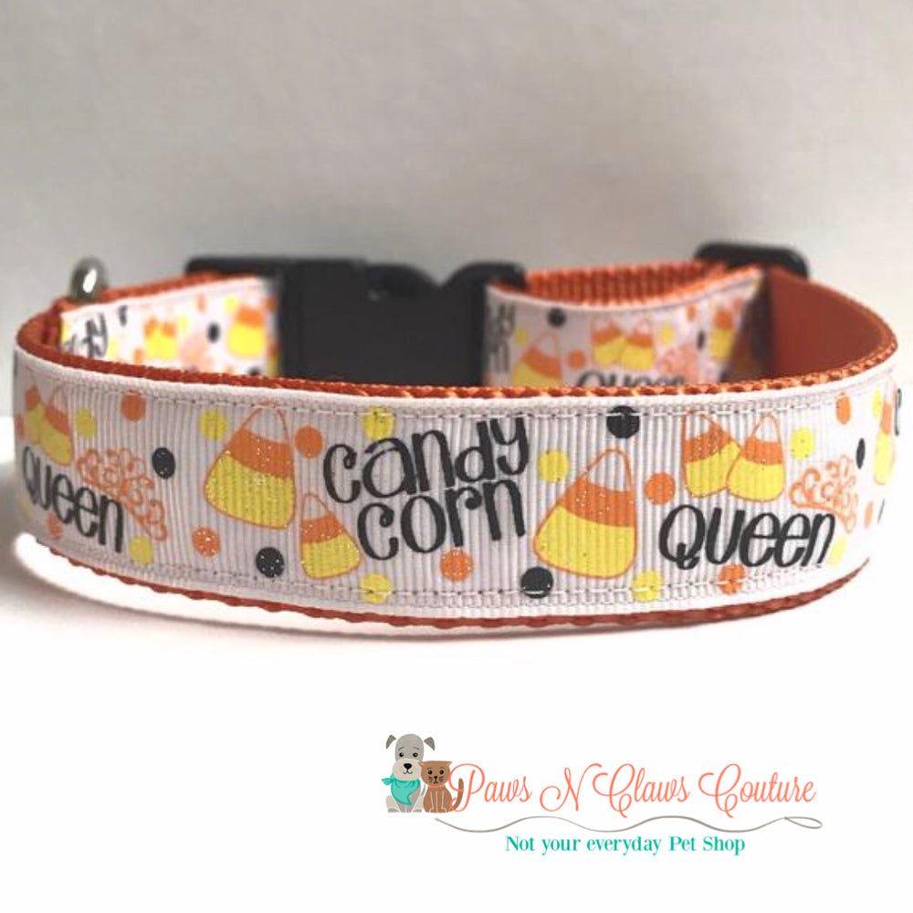 "1"" Candy Corn Queen Dog Collar - Paws N Claws Couture"