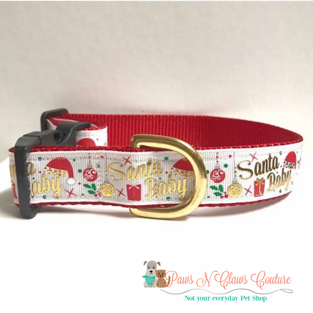 "1"" Santa Baby in white Dog Collar - Paws N Claws Couture"