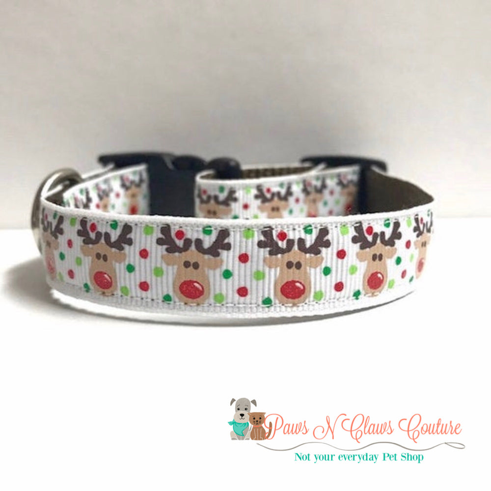 "5/8"" Reindeer on white Dog Collar - Paws N Claws Couture"