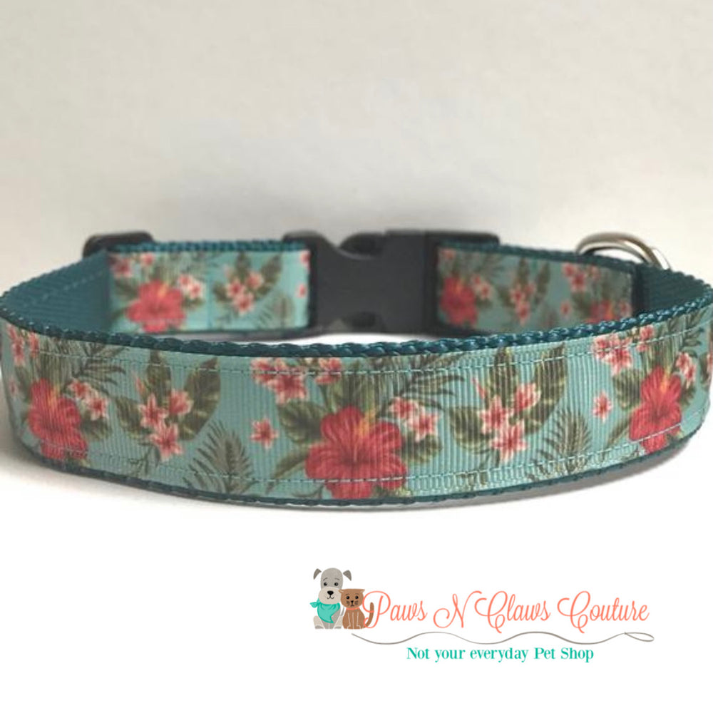 "1"" Tropical escape Dog Collar - Paws N Claws Couture"