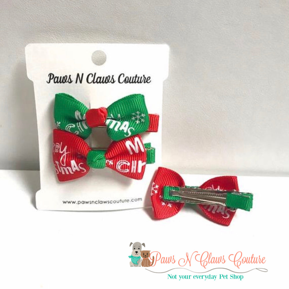 Merry Christmas hair clip - Paws N Claws Couture