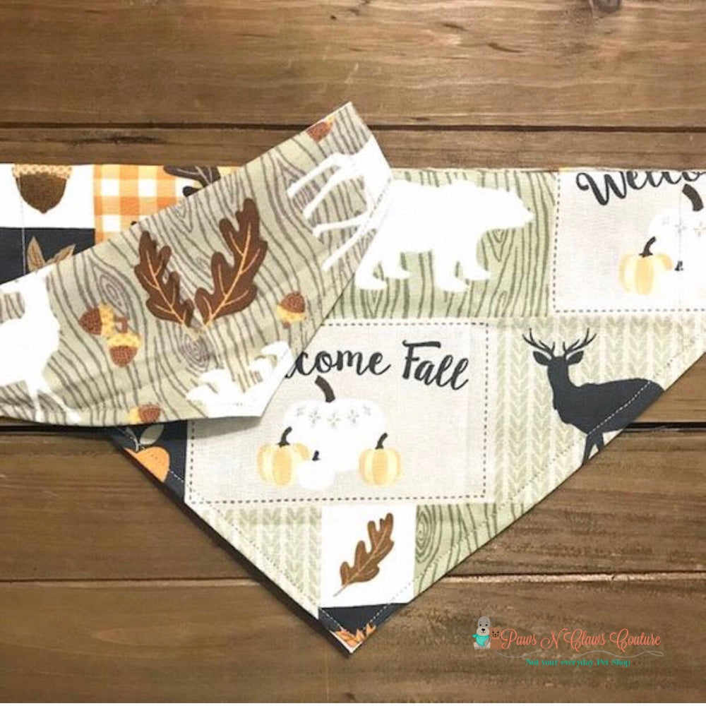 Reversible fall animals Bandana - Paws N Claws Couture