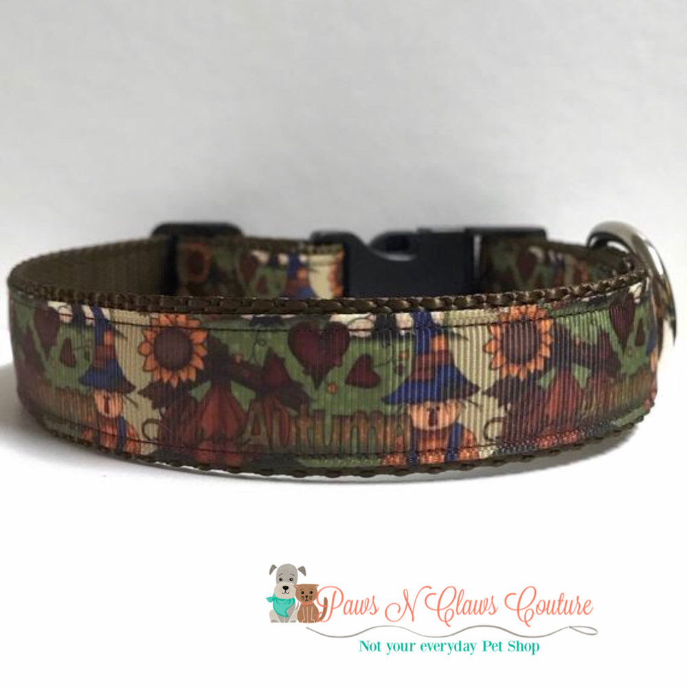 "1"" Autumn scarecrow Dog Collar - Paws N Claws Couture"