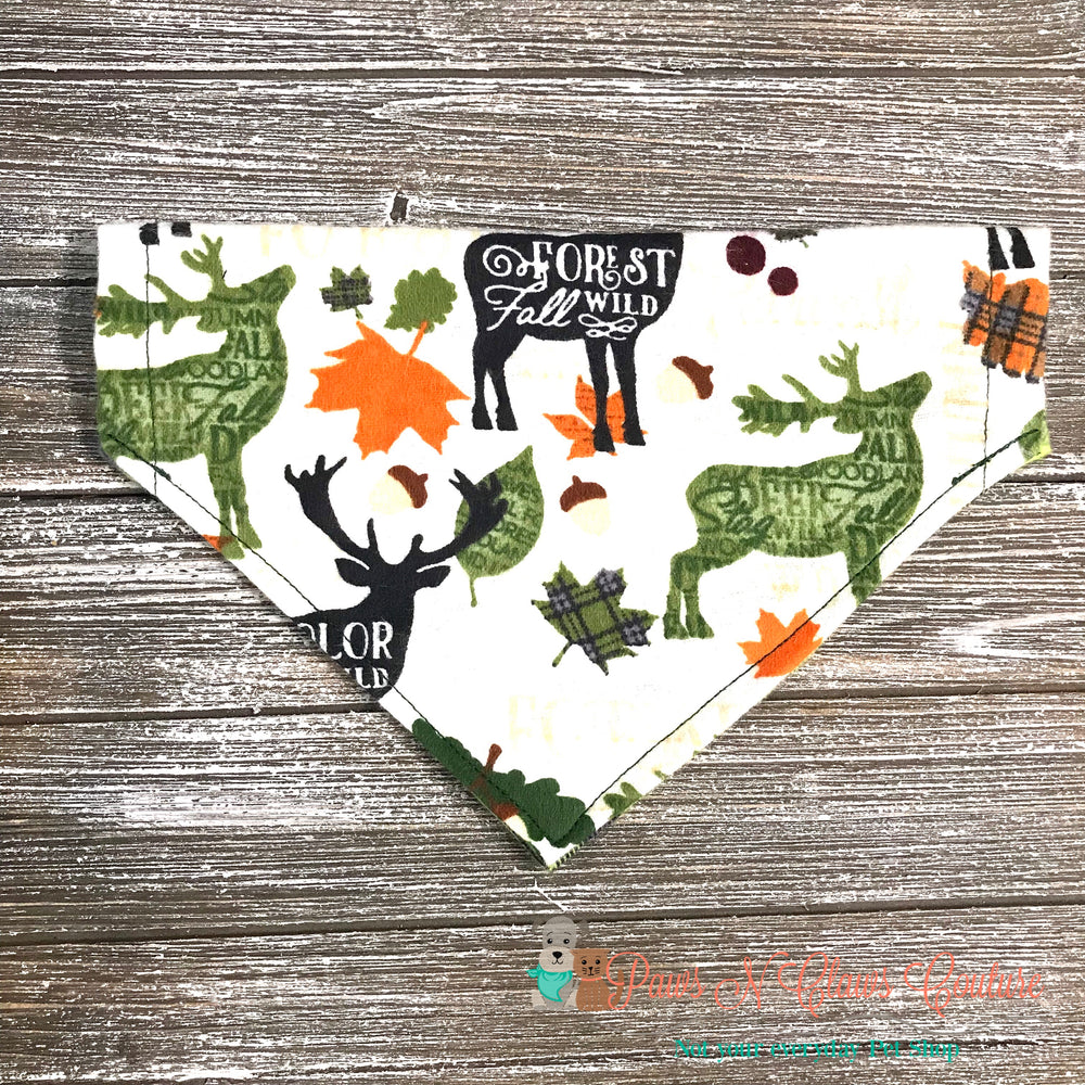 Reversible plaid fall, wild, forest Bandana