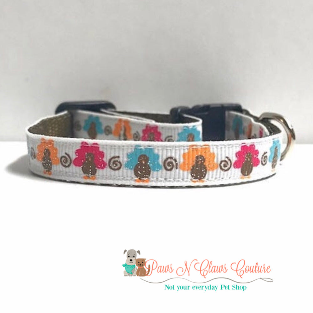 "3/8"" multi color turkey Cat or Small Dog Collar - Paws N Claws Couture"